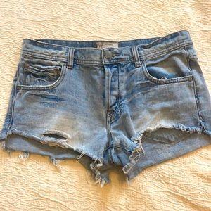 Free People Cut Off Distressed Jean Shorts Jorts